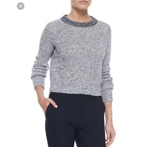 • Theory Brombly Cropped Knit Gray Sweater •